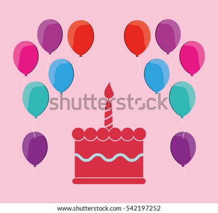 Birthday Cake Balloons Vector Greeting Card Stock Vector - Graphic birthday cake