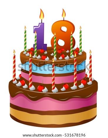 Happy Birthday Cake  Stock Vector  Shutterstock - Happy birthday 18 cake