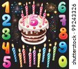 Happy Birthday cake, numbers and firework - stock vector