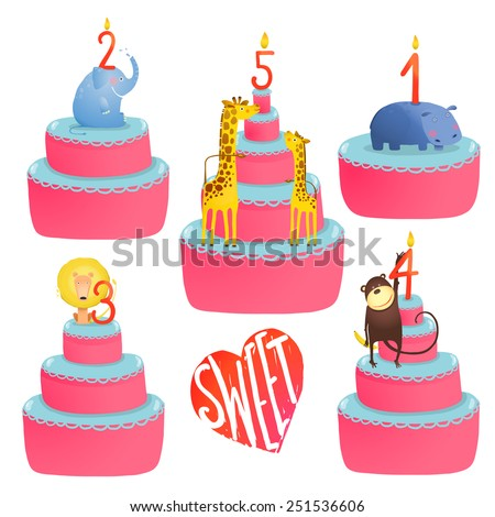 Happy Birthday Cakes Collection with Animals and Lettering. Colorful sweeties with holiday childish candles. Vector illustration EPS10. - stock vector