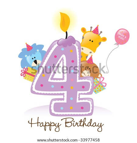 Happy Birthday Candle and Animals Isolated on white - stock vector