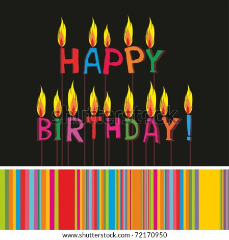 Happy birthday candles. Greeting card. Vector illustration