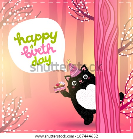 Happy Birthday card background with a cat, cake, speech bubble in pink forest - stock vector