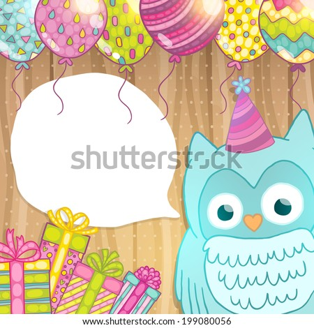 Happy Birthday card background with cute cartoon owl. Vector holiday party template. Greeting postcard image. - stock vector
