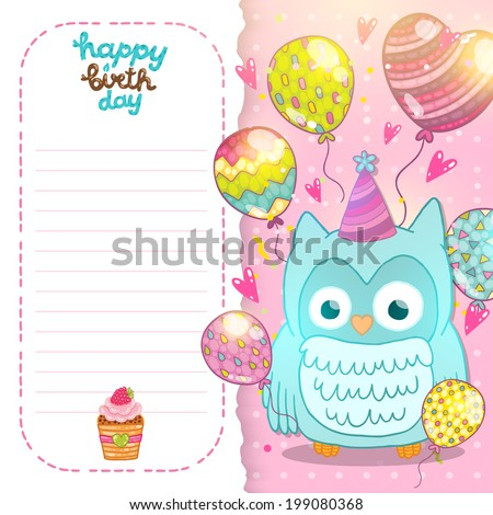 Happy birthday card background cute cartoon stock vector 199080368 happy birthday card background with cute cartoon owl vector holiday party template greeting postcard bookmarktalkfo Images