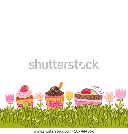 Happy Birthday card background with fresh grass and cupcakes - stock vector