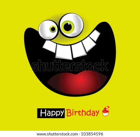 Happy Birthday Card big smile - stock vector