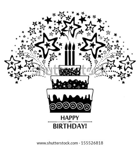 Happy Birthday Card Birthday Cake Firework Stock Vector 155526818