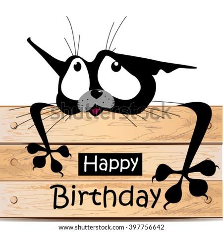Happy Birthday card cat smile - stock vector