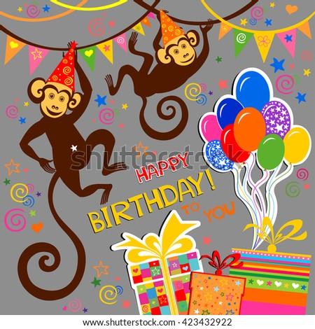 Happy Birthday Card Celebration Background Monkey Stock Vector
