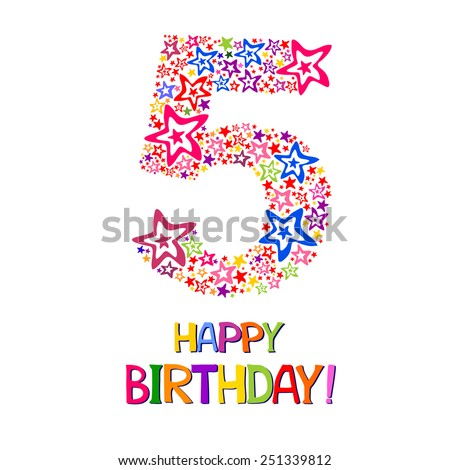 Happy birthday card. Celebration background with number five, firework and place for your text. Vector illustration  - stock vector