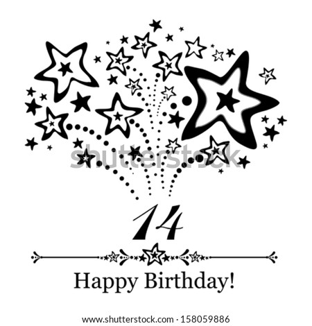Happy birthday card. Celebration background with number fourteen, firework and place for your text. Vector illustration