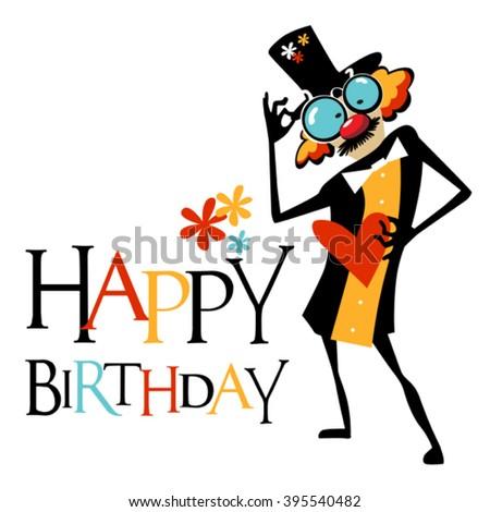 Happy Birthday card clown smile - stock vector