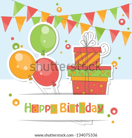 Happy Birthday card . Colorful illustration of balloons, gift and garland of flags. - stock vector