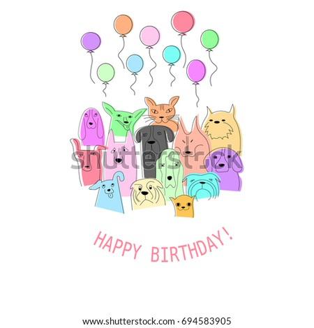 Happy Birthday Card Cute Animals Vector Stock Vector 2018