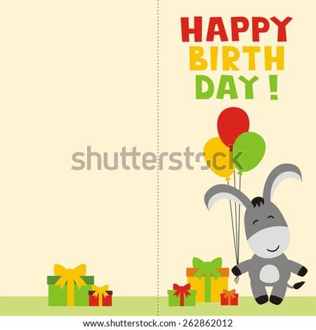 Happy Birthday Card Cute Donkey Balloons Stock Vector 262862012