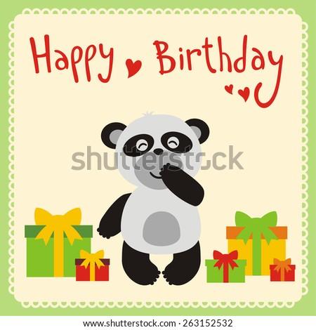 happy birthday card cute panda gifts stock vector royalty free