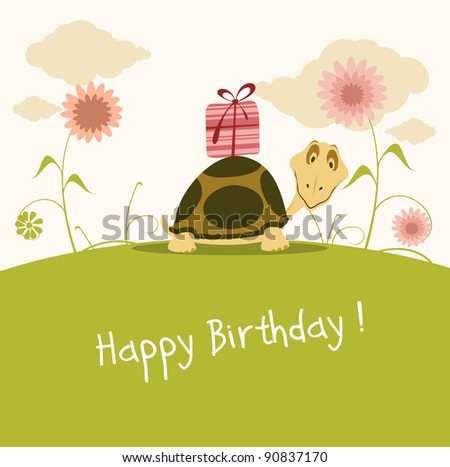 Happy birthday card cute turtle stock vector 90837170 shutterstock happy birthday card cute turtle bookmarktalkfo Images