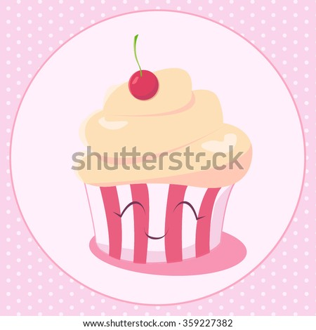 Happy Birthday Card Design With Cupcake Kawaii Funny Muzzle Pink Cheeks And Winking Eyes