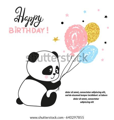 Happy birthday card design cute panda stock vector 640297855 happy birthday card design with cute panda bear and balloonsctor illustration bookmarktalkfo Choice Image