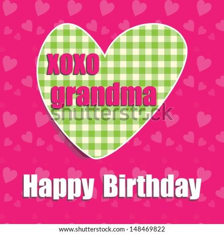 Happy Birthday Card Grandma Heart Vector Eps 10 Illustration Raster