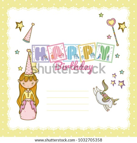 Happy Birthday Card Little Girl Stock Photo Photo Vector