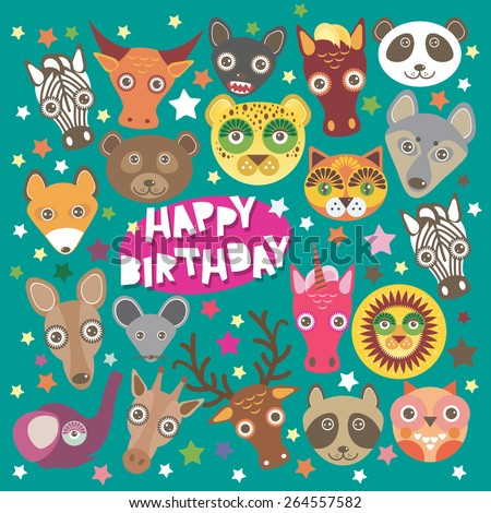 Happy birthday card funny animals muzzle, Teal background with stars. Vector - stock vector
