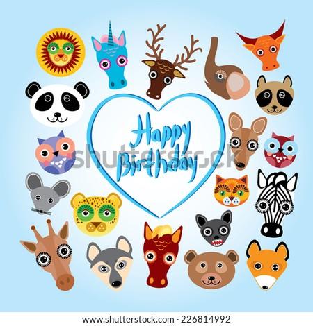 Happy birthday card. funny cute animal face. Vector - stock vector