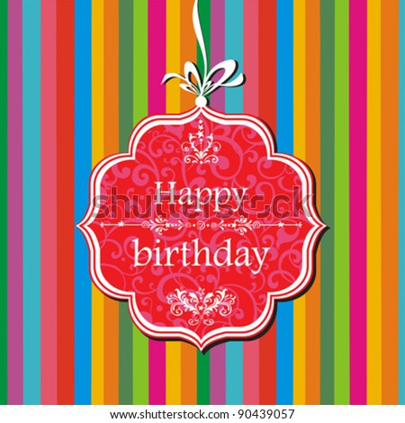Happy birthday card. Greeting card on a red background with bow. Vector Illustration