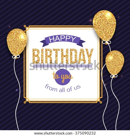 happy birthday you lettering gold frame stock vector happy birthday card template vector eps stock vector 146