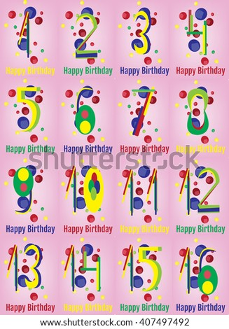 Happy Birthday Card. Happy Birthday Wrapping Paper Digital vector print. Baby Birthday Poster. Teenager Birthday Party Decoration with Colorful Confetti Pink Backdrop. - stock vector