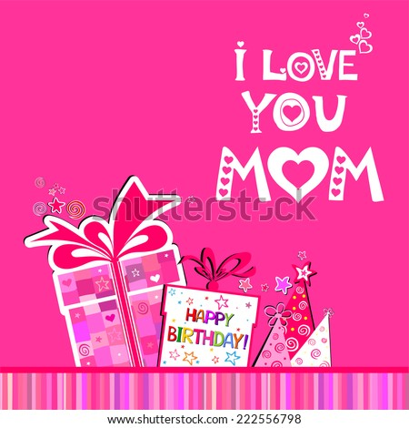 Happy birthday card love you mom stock vector 222556798 shutterstock bookmarktalkfo Gallery
