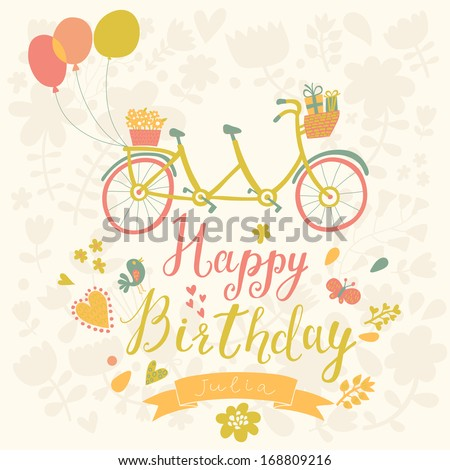 Happy birthday card in bright colors with tandem bicycle, birds, butterflies, hearts and flowers in vector - stock vector