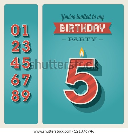 Happy birthday card invitation with candle number editable - stock vector