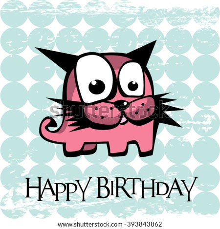 Happy Birthday card monster cat - stock vector