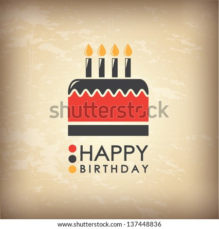 Happy Birthday card over vintage background  vector illustration - stock vector