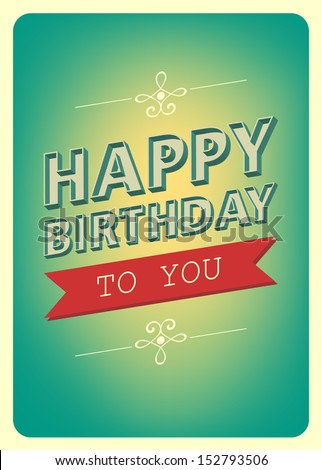 happy birthday card retro vintage typography stock vector, Birthday card