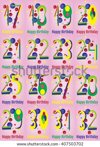 Happy Birthday Card Set. Happy Birthday Wrapping Paper Digital vector print. Teenager Birthday Poster. Adult Birthday Decoration with Colorful Confetti Pink Backdrop. - stock vector
