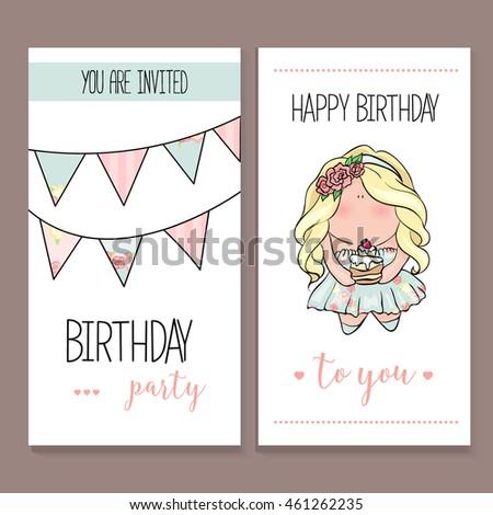 Happy Birthday Card Set Cute Doodle Stock Photo Photo Vector