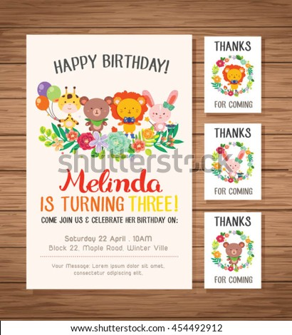 Happy Birthday Card Sets With Cute Animals And Spring Flowers Frame Set One