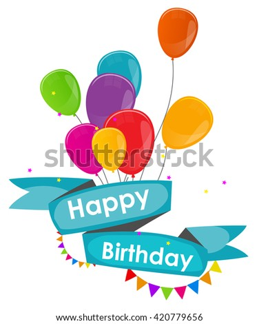 Happy Birthday Card Template with Balloons Vector Illustration EPS10 - stock vector