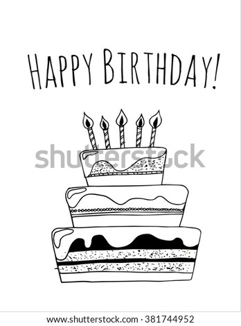 Happy Birthday Card Template With Black Cake