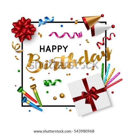 Happy Birthday Card Template Gift Box Stock Vector 543980968
