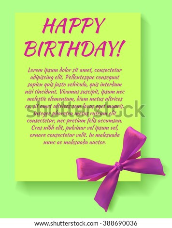 Happy birthday card template with magenta bow. Green card. VECTOR template. - stock vector