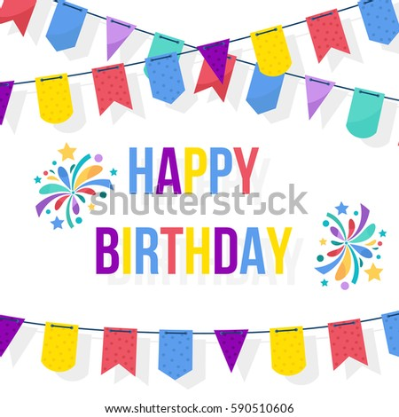 Happy birthday card template party flags stock vector 578906488 happy birthday card template with party flags garlands holiday design vector illustration pronofoot35fo Images