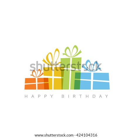 Happy birthday card template with presents. - stock vector