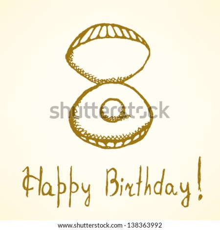 Happy Birthday card, vector illustration with pearl - stock vector