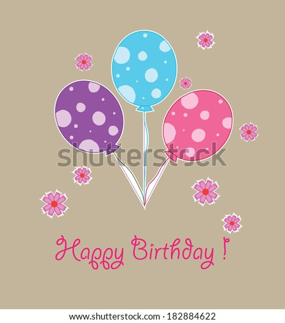 Happy Birthday Card Balloons Three Year Stock Vector 182884622