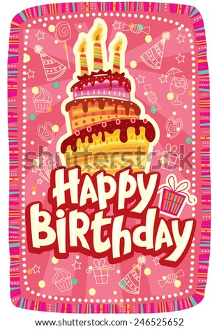 Happy birthday card with Birthday cake - stock vector