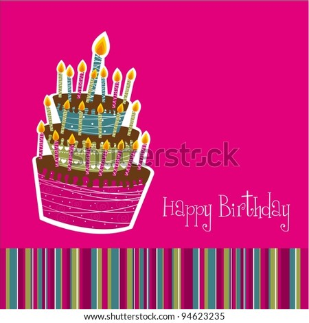 happy birthday card  with cake over pink background. vector - stock vector